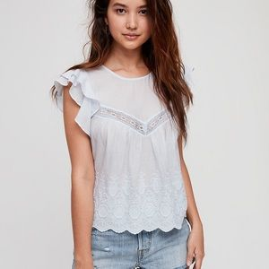 Aritzia Sunday Best Caddie floral lace ruffle embroider blouse top blue XS 72428